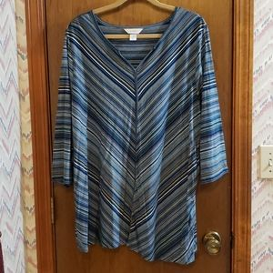 Shades of Blue Striped Shirt with 3/4 Sleeves